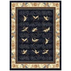 Manchurian Cranes Indigo - Blue Beige Designer Hand Knotted Silk Rug