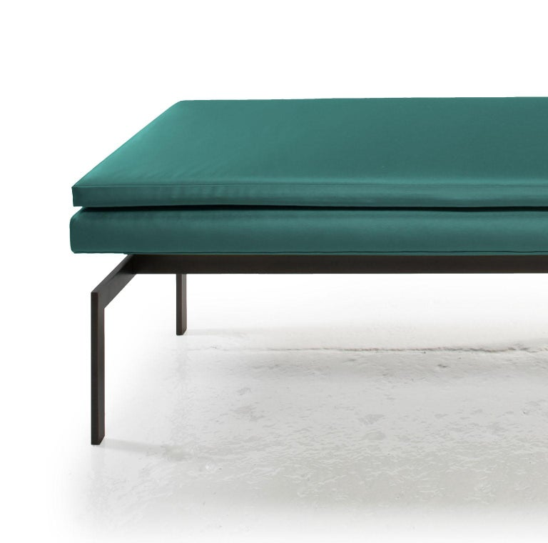 American Mancini Bench, Teal Satin, Blackened Steel Base, COM or COL For Sale