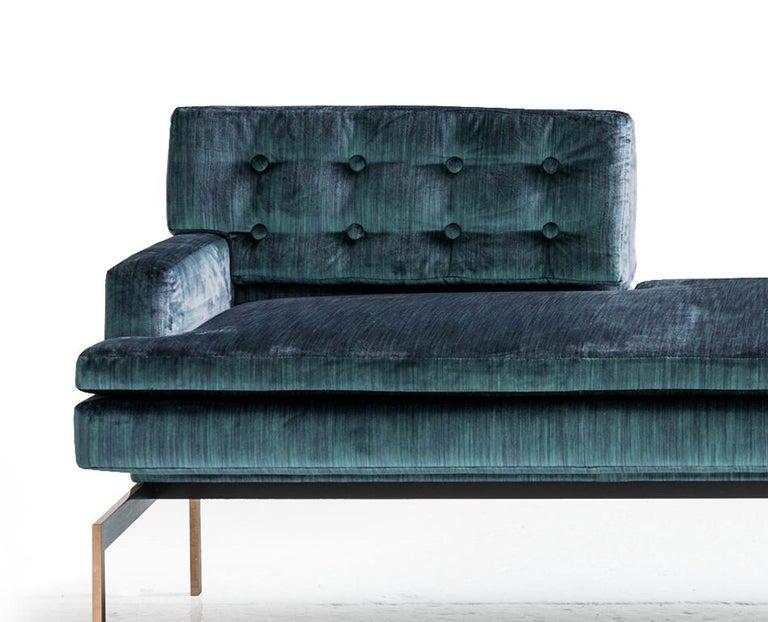 American Mancini Tête-à-Tête, Tufted Back in Blue Silk Velvet, Silicon Bronze Base For Sale