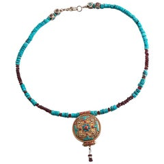 Mandala Natural Turquoise Coral 14K Gold Antique Ornate Nepalese Pendant