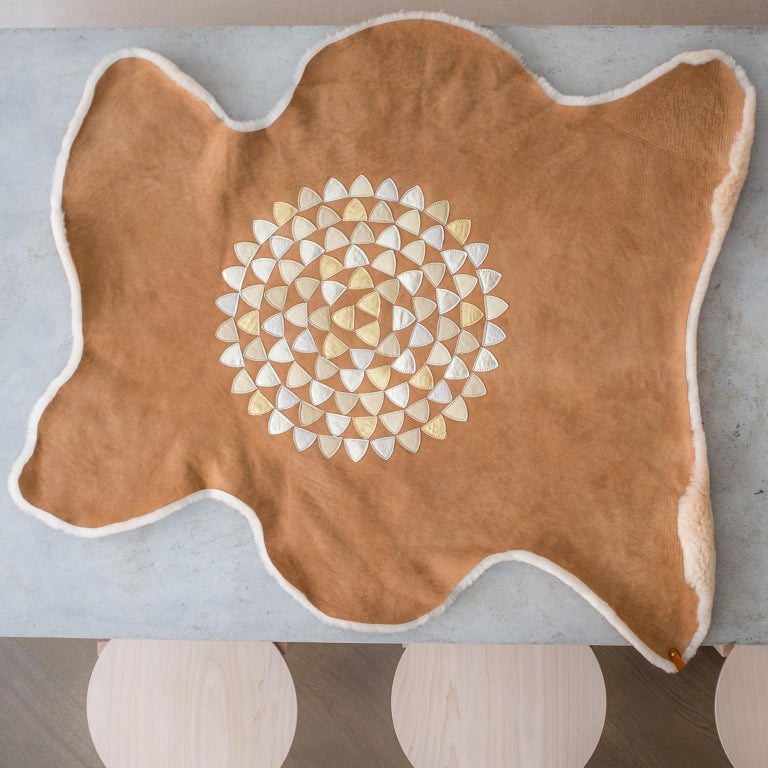 American Sheepskin Throw by Moses Nadel in Natural Cream With Leather Mandala Appliqué For Sale