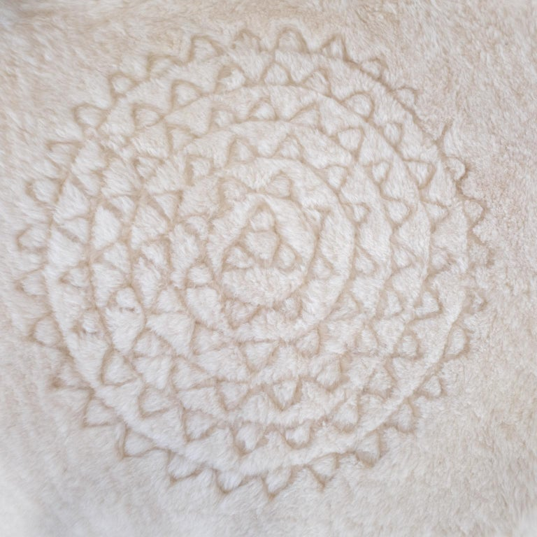 Sheepskin Throw by Moses Nadel in Natural Cream With Leather Mandala Appliqué In New Condition For Sale In Sea Cliff, NY