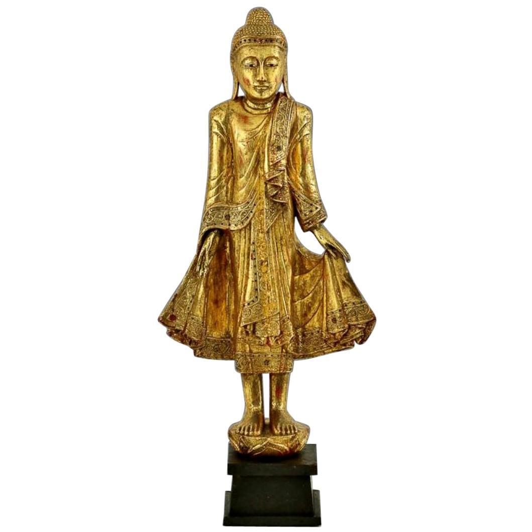 Mandalay Gold Gilded Wood Standing Buddha Statue, Burma, Late 19th Century