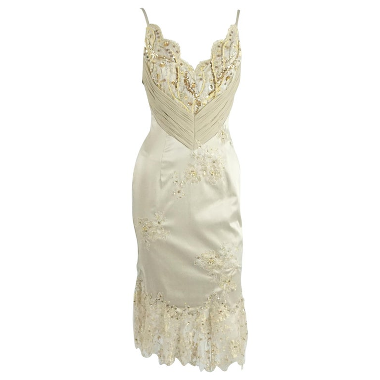 Mandalay Silk and Beaded Lace Evening Dress-2 For Sale