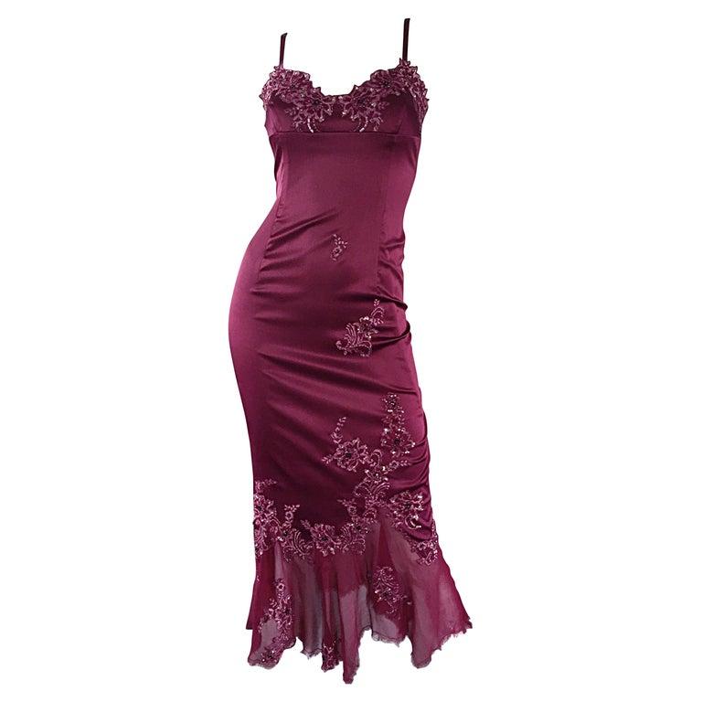 Mandalay Size 12 Merlot Wine Silk Beaded Sequin Burgundy Dress Flutter Hem For Sale