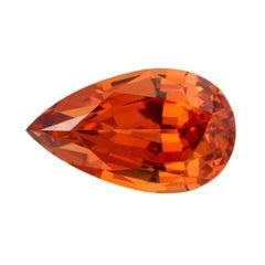 Mandarin Garnet 10.98 Carat Pear Shape Gem Loose Unset Gemstone
