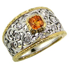 Mandarin Garnet and Diamond 18kt Ring, Handmade and Hand Engraved in Italy