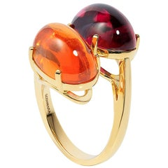Goshwara Mandarin Garnet and Rubelite Oval Cabochon Twin Ring