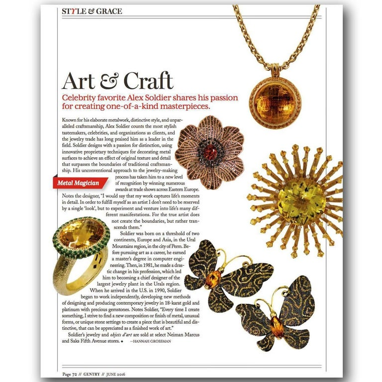 Mandarin Garnet Diamond 18k Gold Coronaria Ring Necklace Cuff Bracelet Brooch For Sale 7