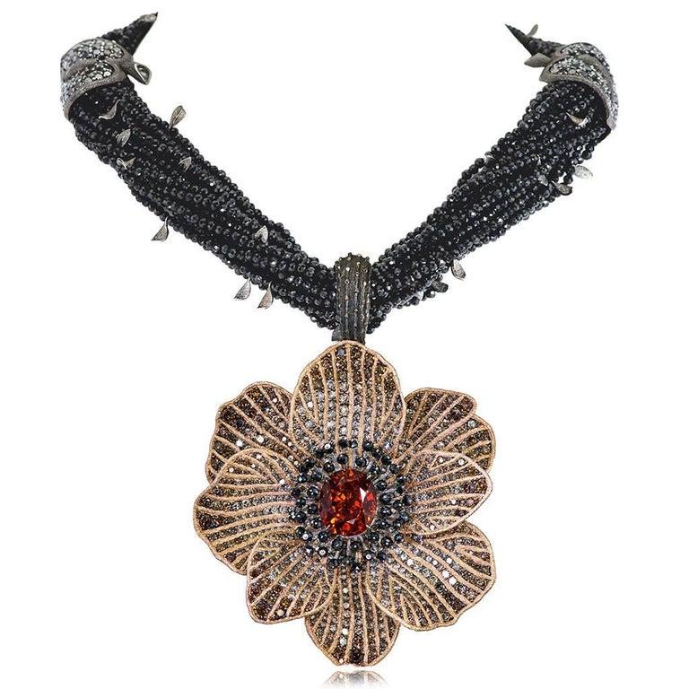 Oval Cut Mandarin Garnet Diamond 18k Gold Coronaria Ring Necklace Cuff Bracelet Brooch For Sale