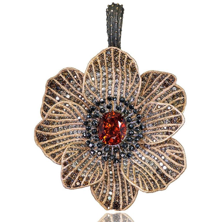 Mandarin Garnet Diamond 18k Gold Coronaria Ring Necklace Cuff Bracelet Brooch In New Condition For Sale In New York, NY
