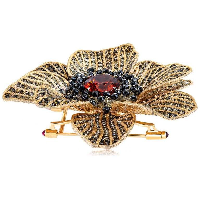Women's or Men's Mandarin Garnet Diamond 18k Gold Coronaria Ring Necklace Cuff Bracelet Brooch For Sale