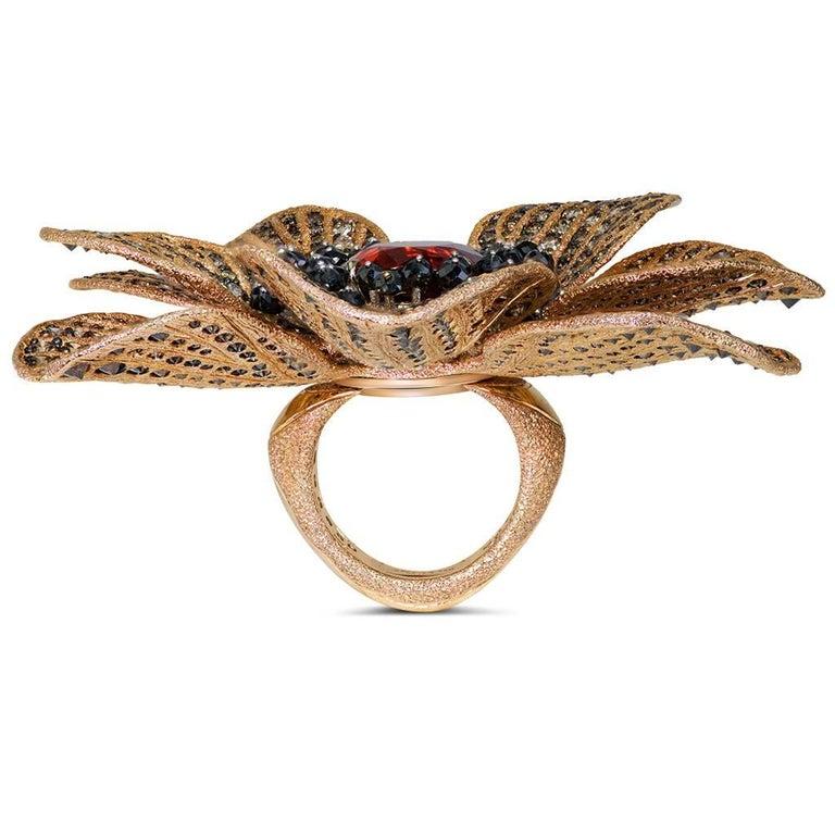 Mandarin Garnet Diamond 18k Gold Coronaria Ring Necklace Cuff Bracelet Brooch For Sale 1