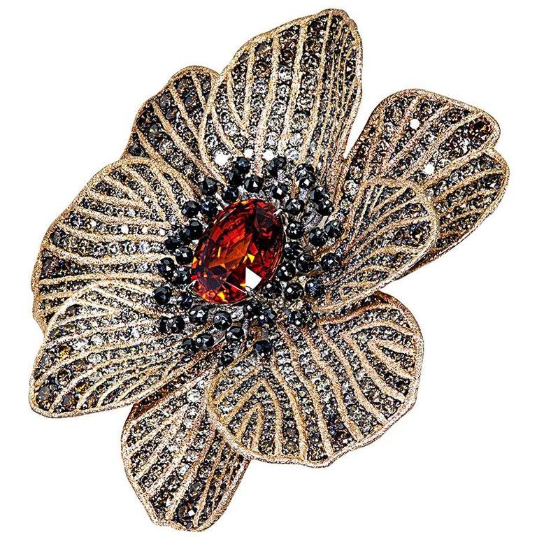 Mandarin Garnet Diamond 18k Gold Coronaria Ring Necklace Cuff Bracelet Brooch For Sale