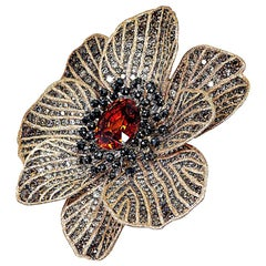 Mandarin Garnet Diamond 18k Gold Coronaria Ring Necklace Cuff Bracelet Brooch