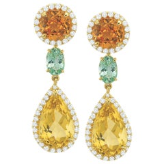 Diamond, Mandarin Garnet and Yellow/Green Beryl Earrings in 18 Karat Yellow Gold