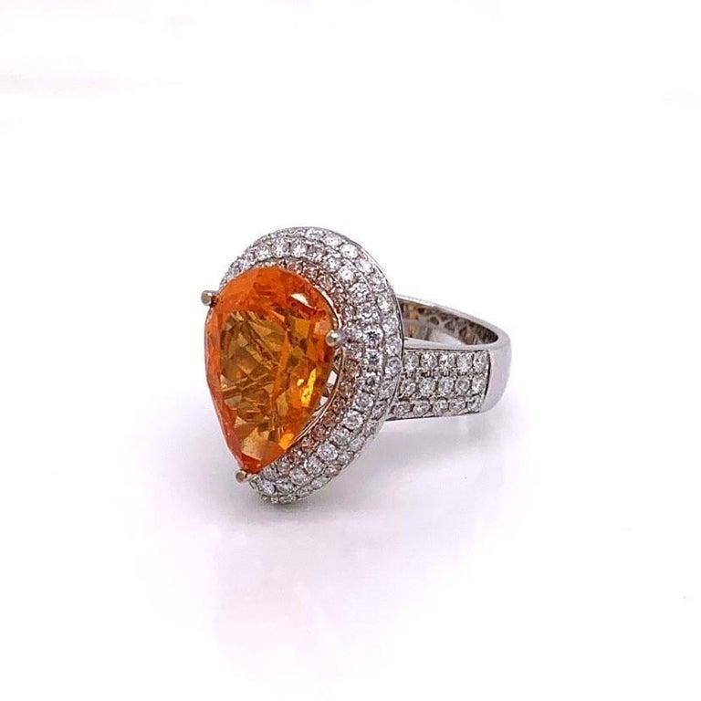 Pear Cut Mandarin Garnet Diamond Gold Cocktail Ring For Sale