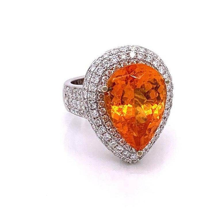 Mandarin Garnet Diamond Gold Cocktail Ring In New Condition For Sale In Beverly Hills, CA