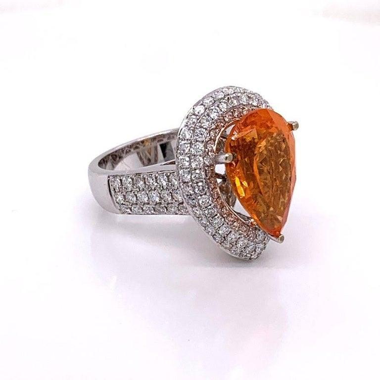 Men's Mandarin Garnet Diamond Gold Cocktail Ring For Sale