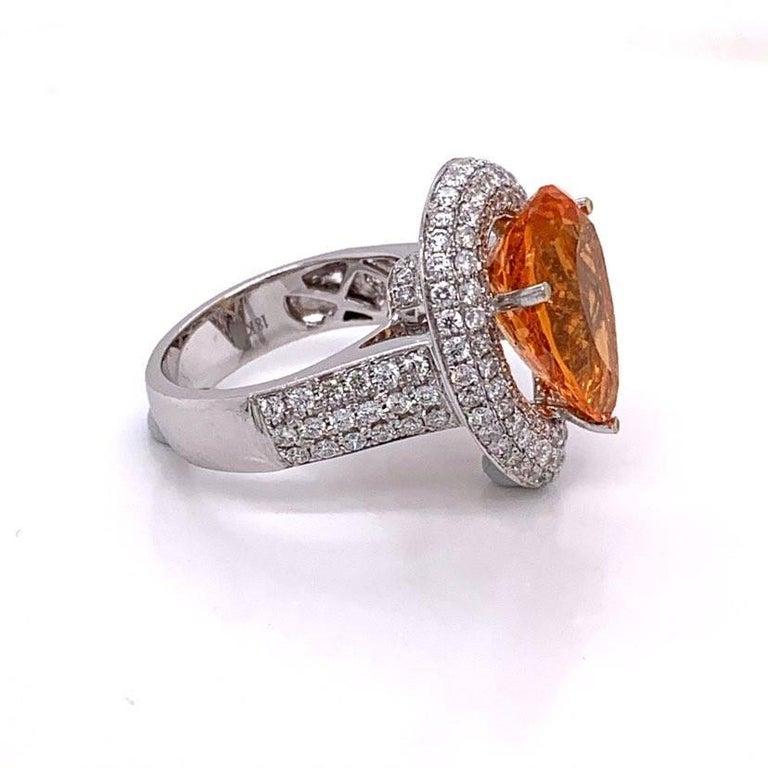 Mandarin Garnet Diamond Gold Cocktail Ring For Sale 1
