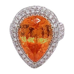 Mandarin Garnet Diamond Gold Cocktail Ring