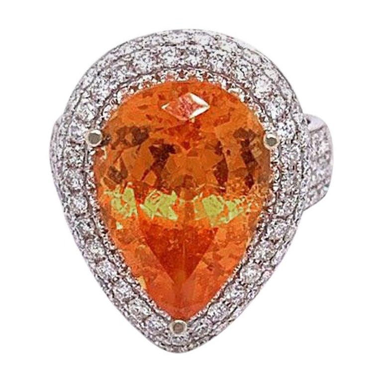 Mandarin Garnet Diamond Gold Cocktail Ring For Sale