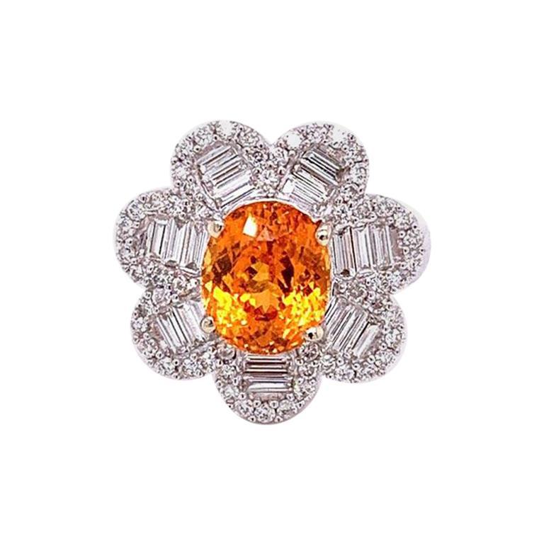 Mandarin Garnet Diamond Gold Flower Ring