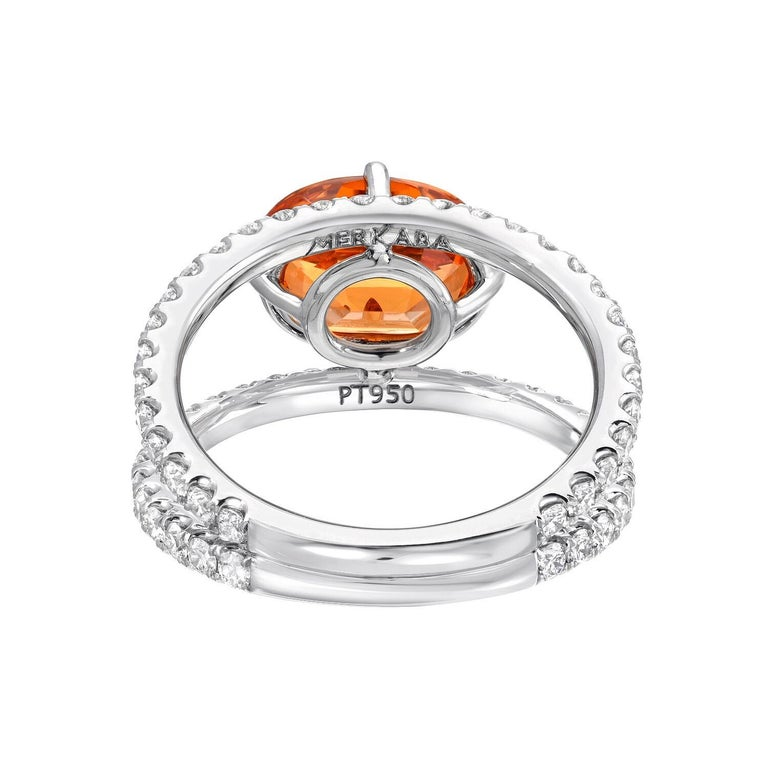 Contemporary Mandarin Garnet Diamond Platinum Cocktail Ring For Sale