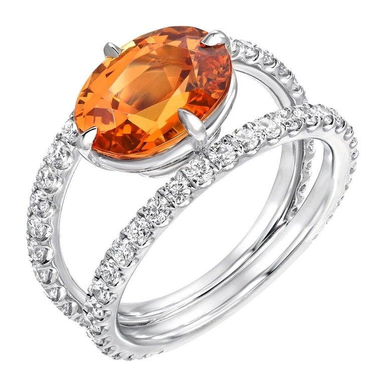 Oval Cut Mandarin Garnet Diamond Platinum Cocktail Ring For Sale