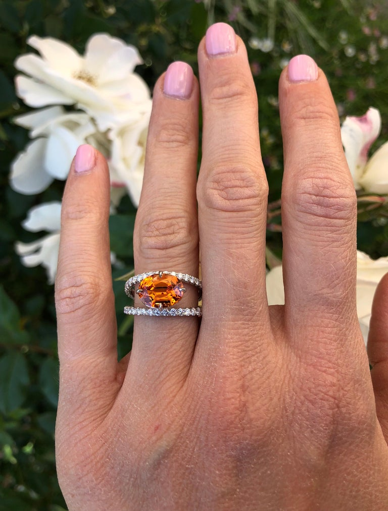 Mandarin Garnet Diamond Platinum Cocktail Ring In New Condition For Sale In Beverly Hills, CA