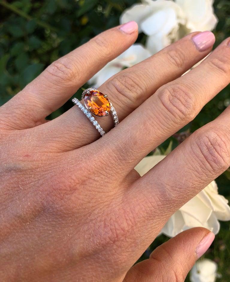 Women's Mandarin Garnet Diamond Platinum Cocktail Ring For Sale