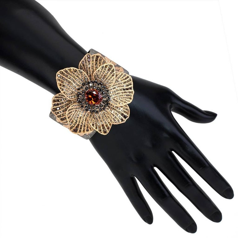Mandarin Garnet Diamond Rose Gold Coronaria Ring Necklace Cuff Bracelet Brooch For Sale 4