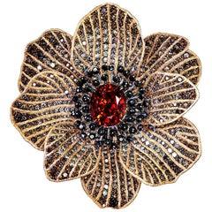 Mandarin Garnet Diamond Rose Gold Coronaria Ring Necklace Cuff Bracelet Brooch
