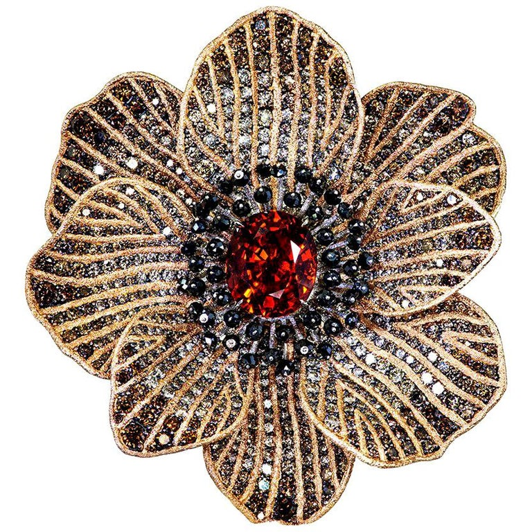 Mandarin Garnet Diamond Rose Gold Coronaria Ring Necklace Cuff Bracelet Brooch For Sale
