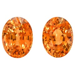 Mandarin Garnet Earrings Gemstone Pair 3.78 Carat Unset Oval Loose Gems