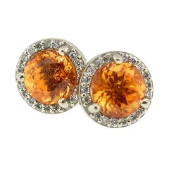 Mandarin Garnet in 18 Karat Gold Martini Halo Earrings
