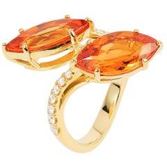 Mandarin Garnet Marquise Twin Ring with Diamonds