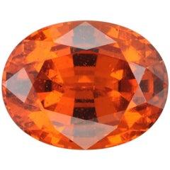 Mandarin Garnet Ring Gem 7.41 Carat Oval