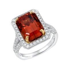 Emerald Cut Mandarin Garnet Ring 8.73 Carats