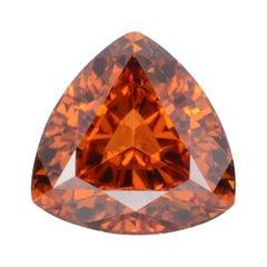 Mandarin Garnet Ring Gem 2.59 Carat Unmounted Trillion Loose Gemstone