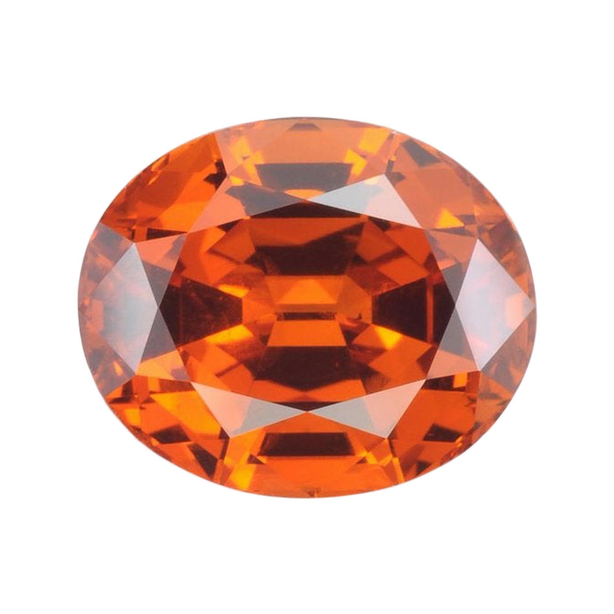 Mandarin Garnet Ring Gem 4.92 Carat Oval Loose Gemstone