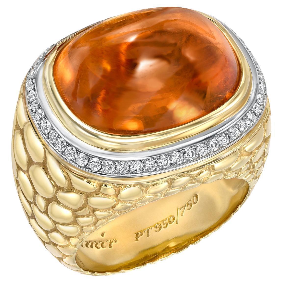 Mandarin Garnet Sugarloaf Cabochon 29.93 Carat Crocodile Ring