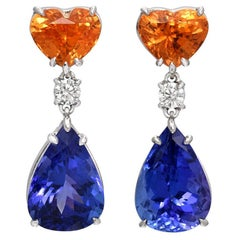 Mandarin Garnet Tanzanite Earrings 10.92 Carats