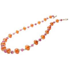 Goshwara Mandarin Garnet And Tourmaline Beads Necklace