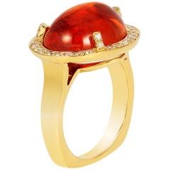 Goshwara  Oval Cabochon Mandarin And Diamond Ring
