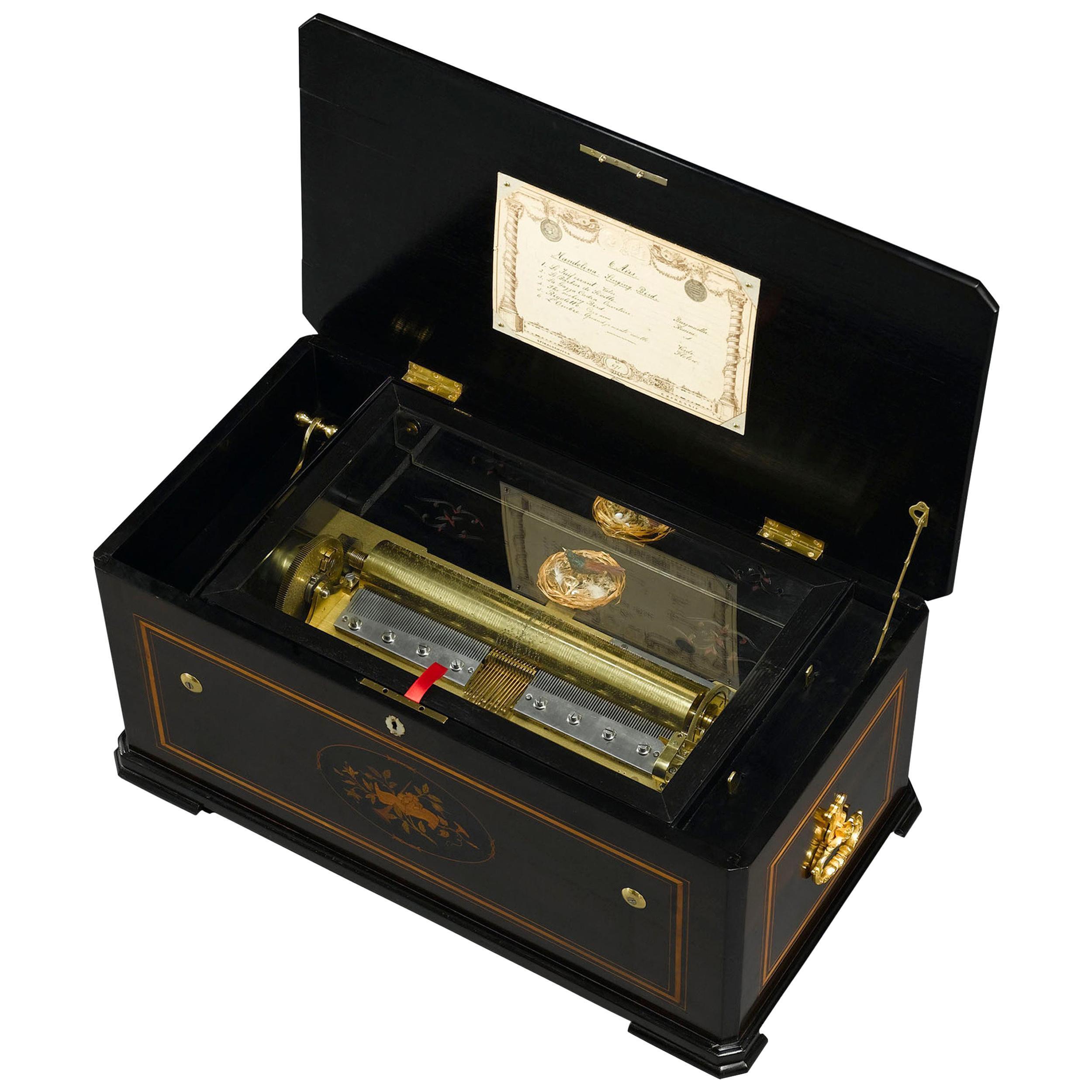 Mandolin Singing Bird Automaton Music Box