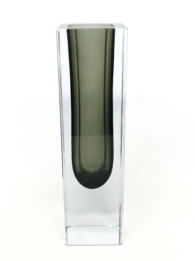 Italian Mandruzzato Black and Clear Murano Glass Sommerso Block Vase