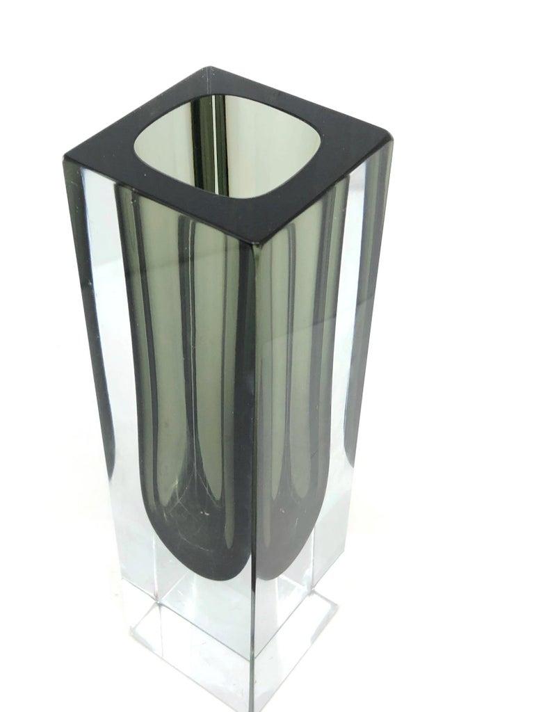 Mandruzzato Black and Clear Murano Glass Sommerso Block Vase In Good Condition In Nürnberg, DE