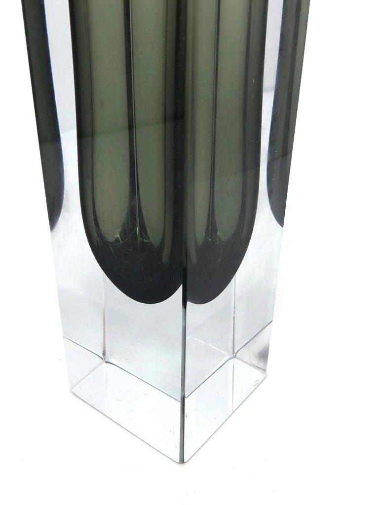 Mid-20th Century Mandruzzato Black and Clear Murano Glass Sommerso Block Vase