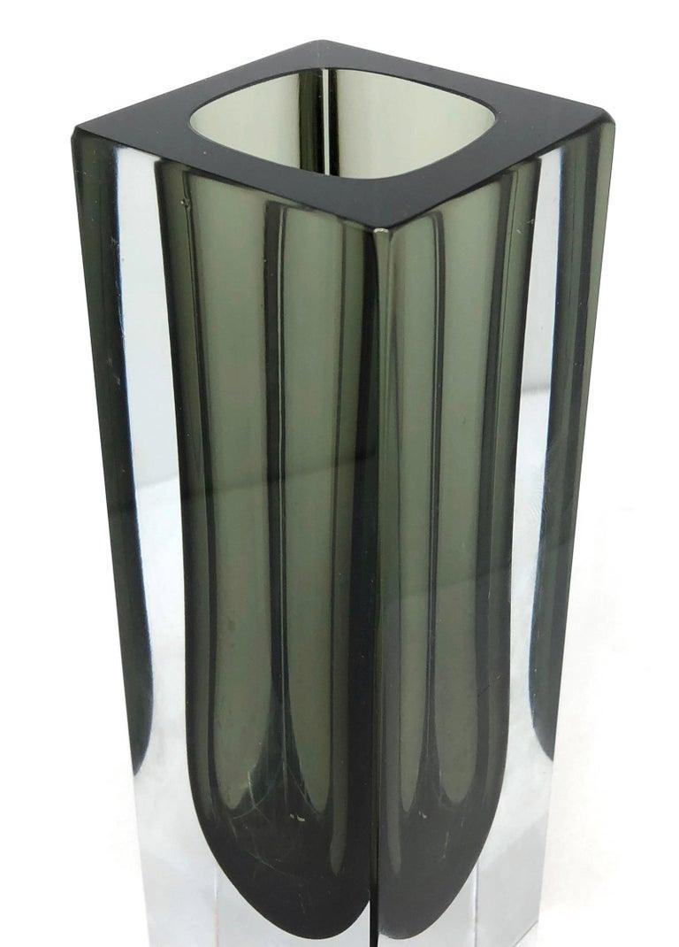 Art Glass Mandruzzato Black and Clear Murano Glass Sommerso Block Vase